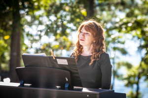 Atlanta ceremony musician  Jennifer Blaske playing at outdoor wedding at Lake Lanier Islands