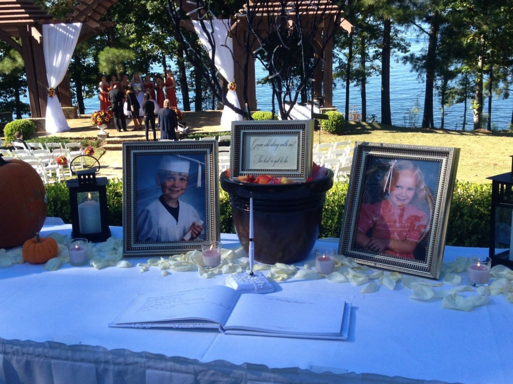 Outdoor Lake Lanier Islands Wedding with piano music -- guest book table