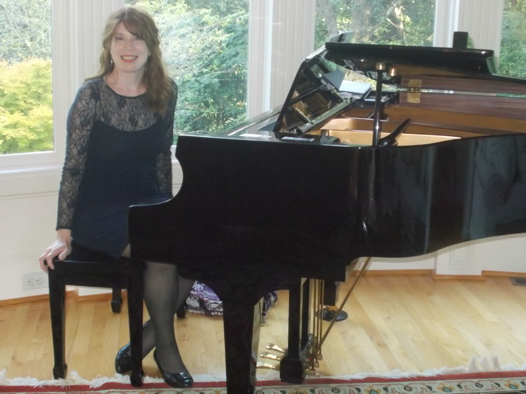 Atlanta Pianist Jennifer Blaske playing piano at engagement party in home in Atlanta