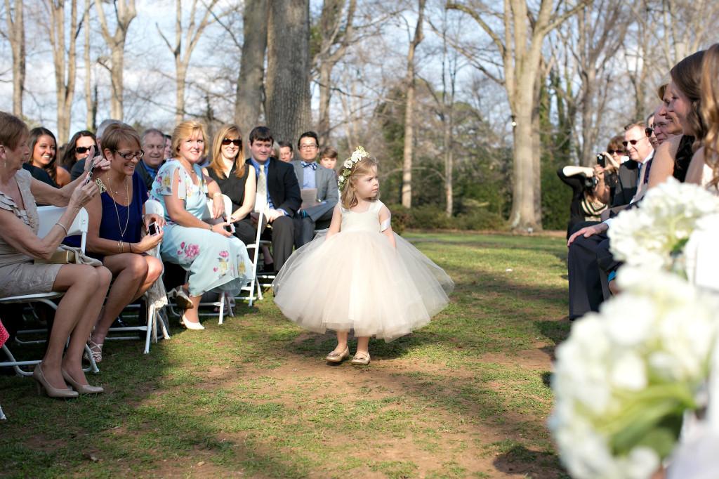 Cute little flower girl at outdoor wedding Callanwolde gardens fine art center