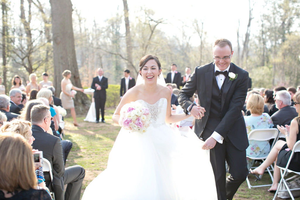 Atlanta wedding musician Jennifer Blaske playing Signed Sealed Delivered by Stevie Wonder during bride and groom recessional at Callanwolde photo by Paperlily Photography and wedding planner Pretty Swell Parties at callanwolde gardens