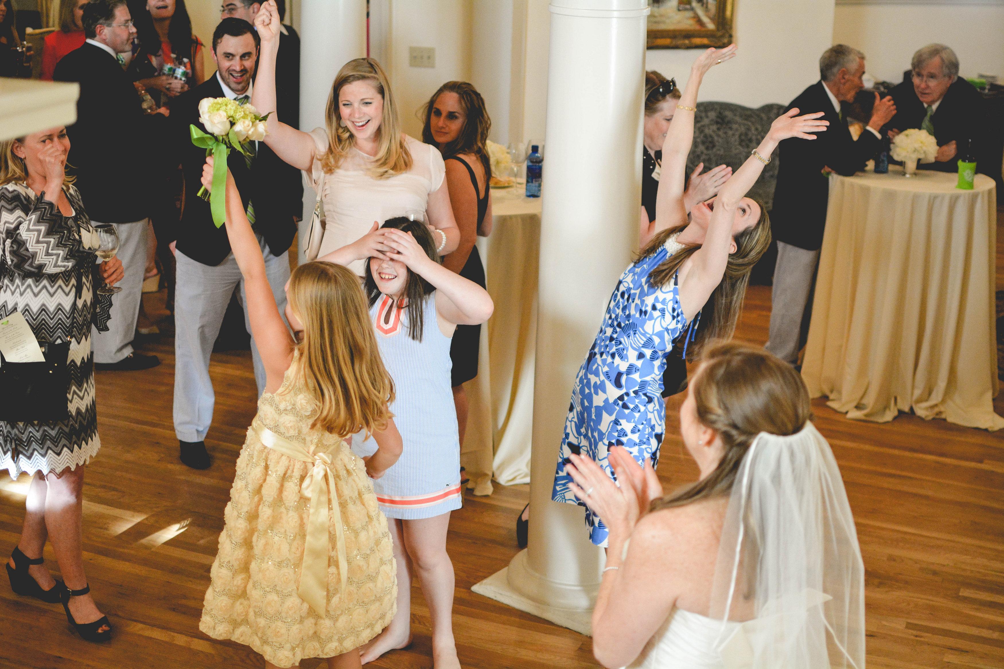 Wimbish House Wedding Atlanta catching bouquet