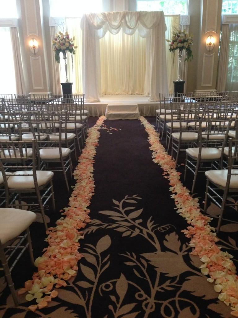 Chelsea Floral aisle runner for Atlanta wedding ceremony at Georgian Terrace