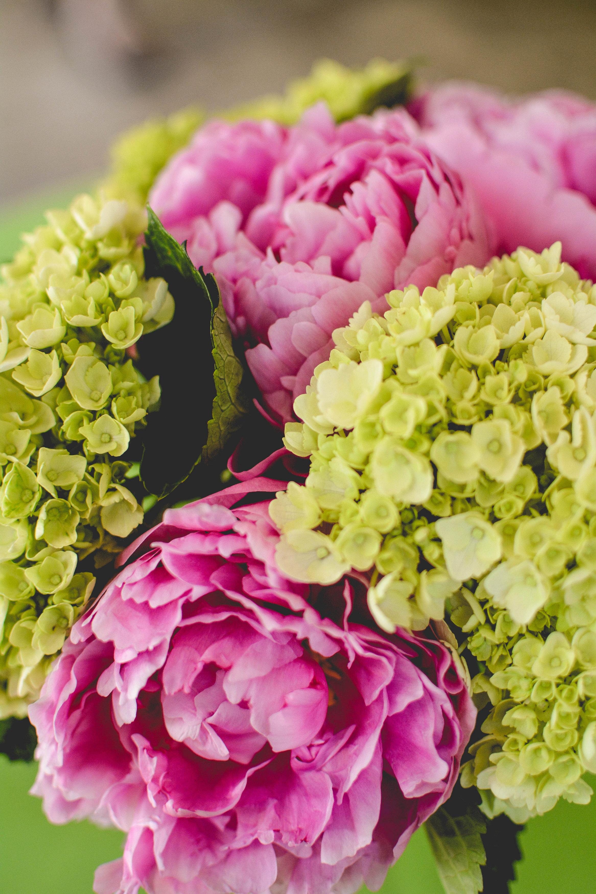 Atlanta wedding pink and green flower centerpiece
