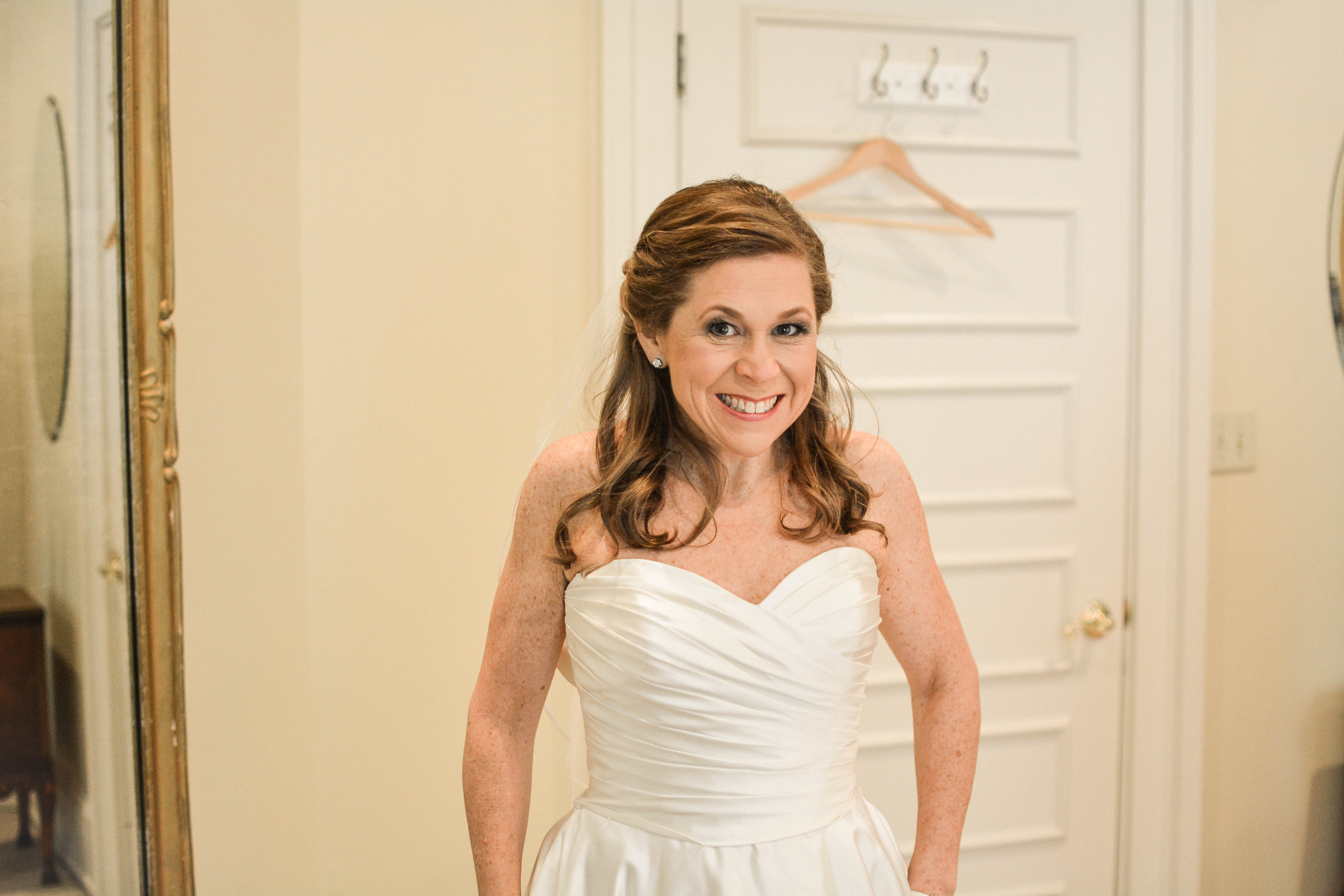 Bride getting ready before wedding ceremony at Wimbish House venue in Atlanta
