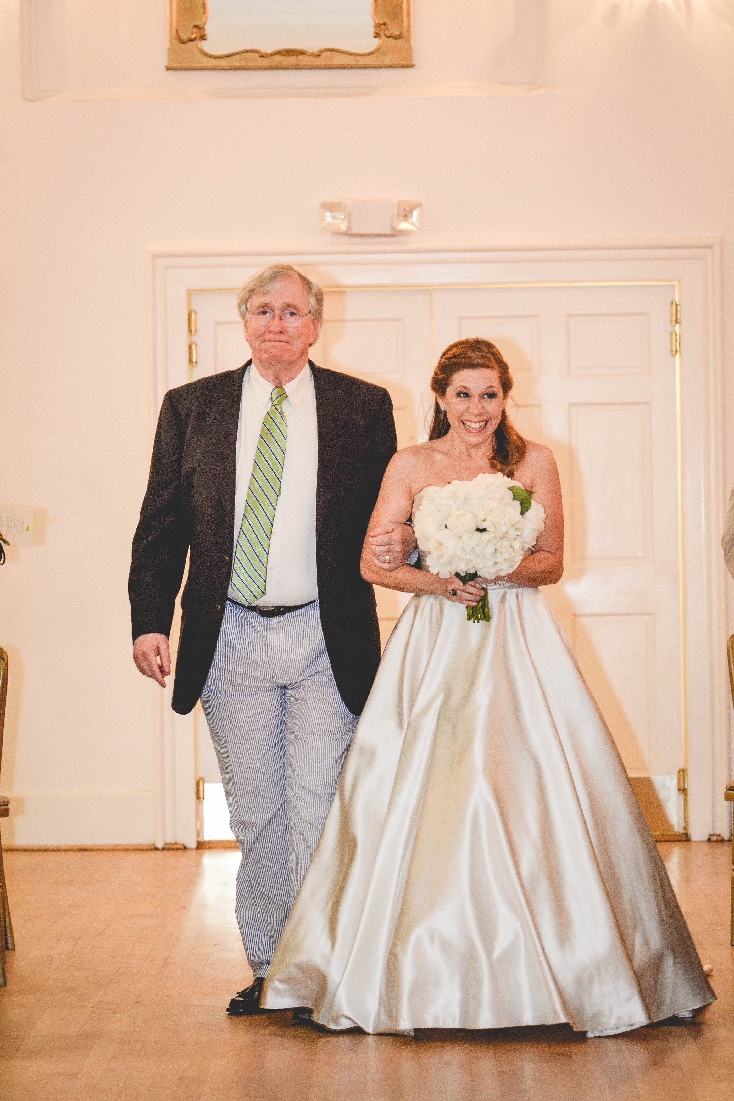Wimbish House wedding Bride coming down aisle with father
