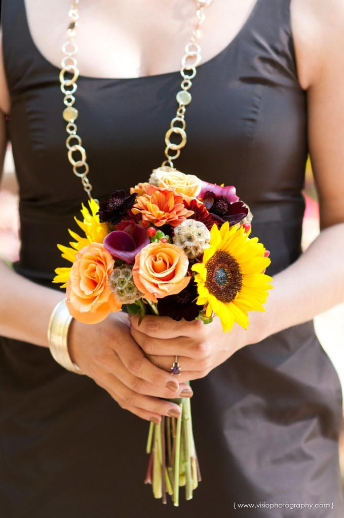 Bridesmaid fall bouquet for outdoor Alpharetta wedding