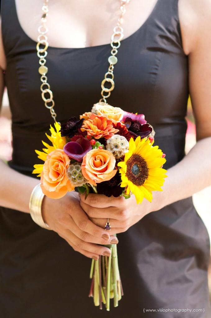 Bridesmaid fall bouquet for outdoor Alpharetta wedding