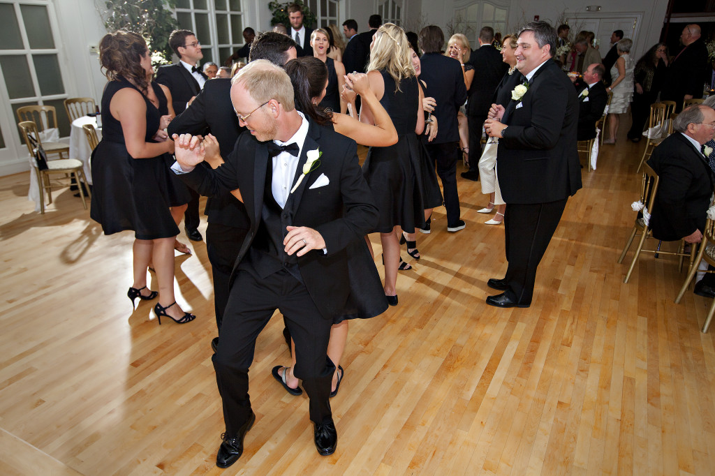 Dancing at wedding reception in Atlanta at Wimbish House venue