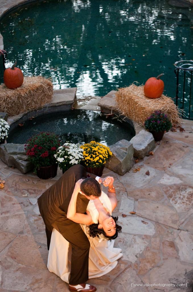 Outdoor wedding by pool in Alpharetta