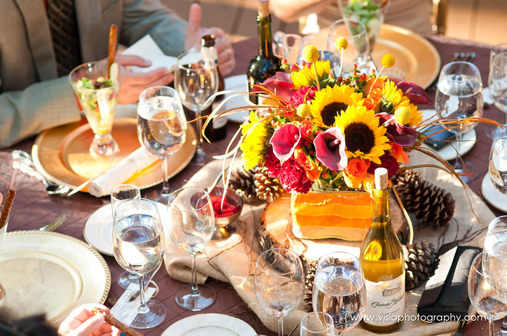Floral centerpiece for outdoor fall wedding