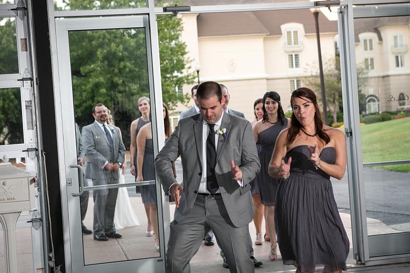Bridal party entering wedding reception at Chateau Elan