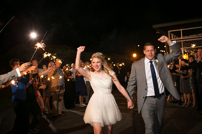 Sparkler exit from Chateau Elan weding