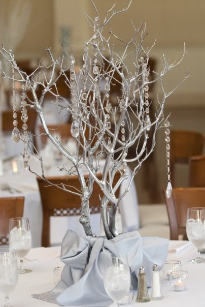 Silver tree winter wonderland themed wedding table centerpiece for December wedding & Winter Wedding Centerpieces and Decoration Ideas Jennifer McCoy Blaske