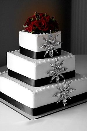 Winter wonderland themed Wedding Cake with silver snowflakes for a December wedding idea
