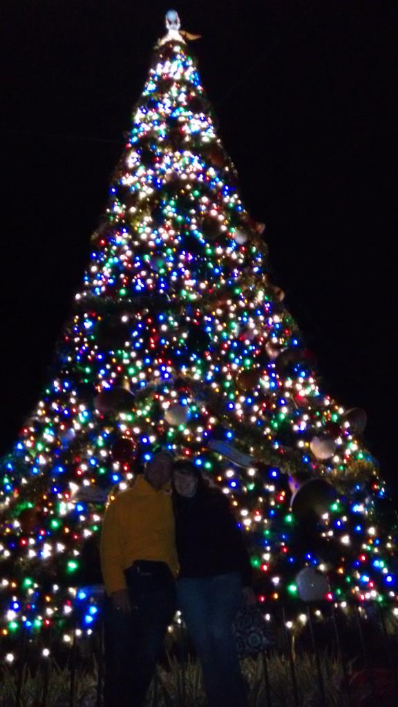 Atlanta Pianist Jennifer Blaske in front of Christmas tree at Epcot