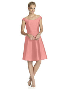 apricot peach bridesmaid dress with pockets