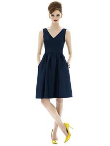 midnight blue sleeveless bridesmaid dress with pockets