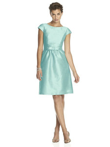 seaside blue bridesmaid dress with pockets