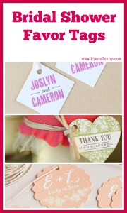 Personalized favor tags for bridal shower