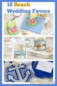 Beach Wedding Favors of flip-flops, starish, and nautical symbols