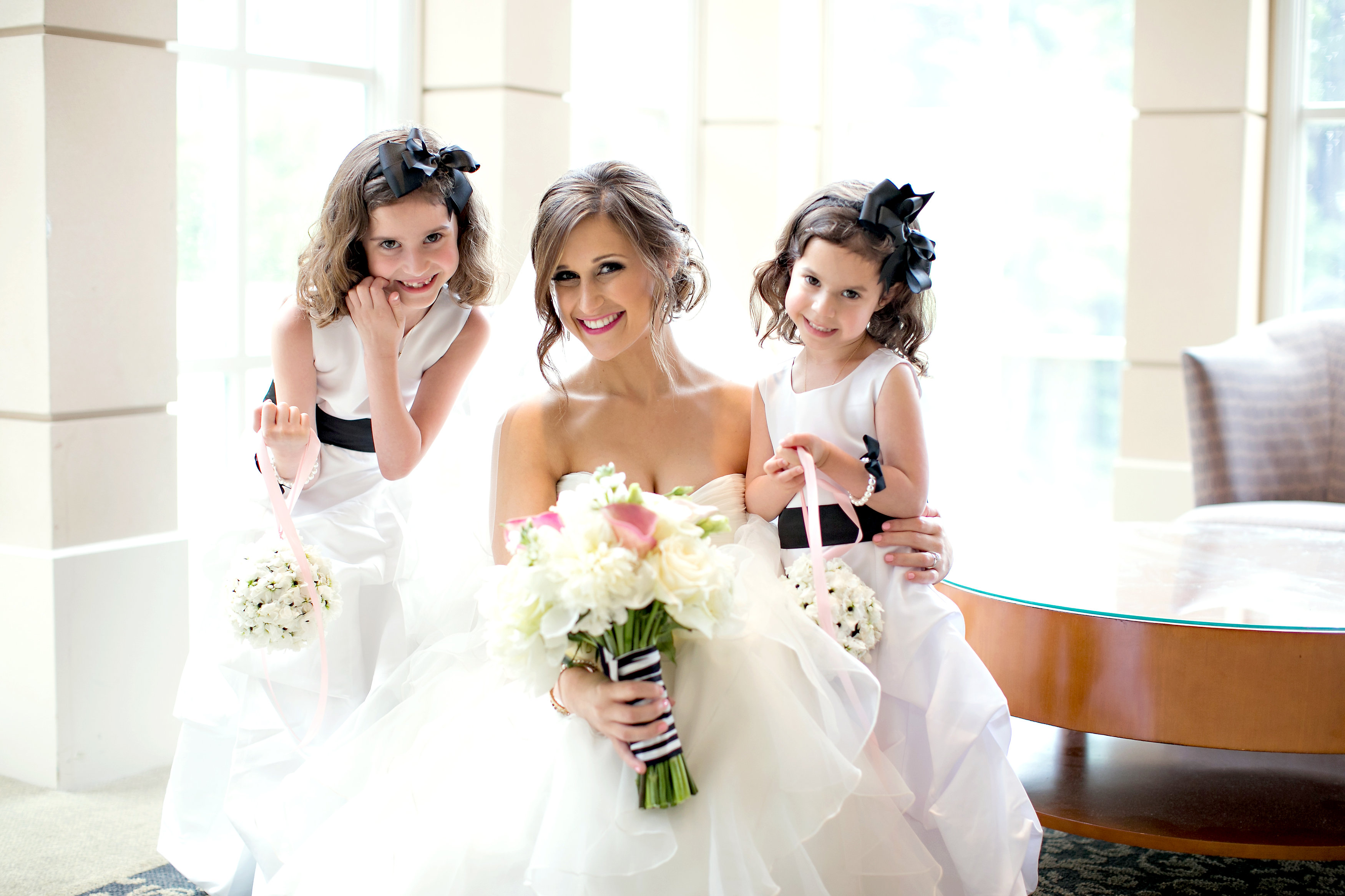 Bride with flower girls at Atlanta Jewish wedding at The Temple