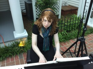 Atlanta pianist Jennifer Blaske plays for outdoor wedding ceremony and cocktail hour at Flint Hill