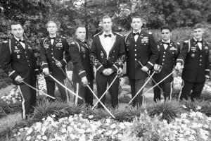 Military Groomsmen at outdoor atlanta wedding