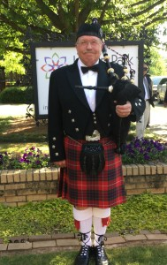 Bagpipe player for wedding recessional at Inman Park United Methodist Church Atlanta