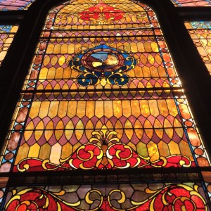 Big Stained Glass window at Inman Park United Methodist Church wedding