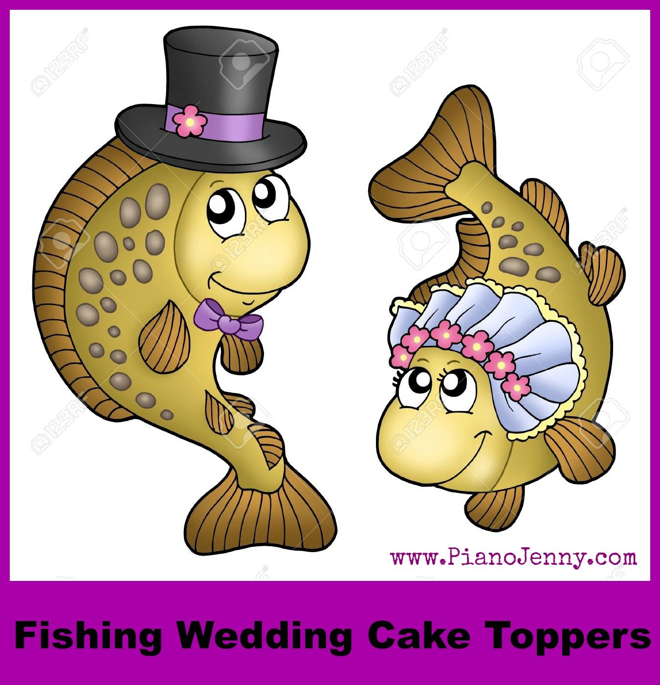 Bride and Groom fishing cake toppers