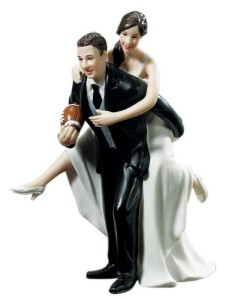 Bride and Groom Football wedding cake topper