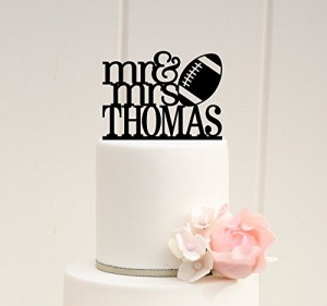 Acylic Football Wedding Cake Topper personalized with bride and grooms name