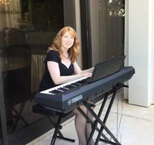 Atlanta wedding pianist Jennifer McCoy Blaske at outdoor wedding ceremony