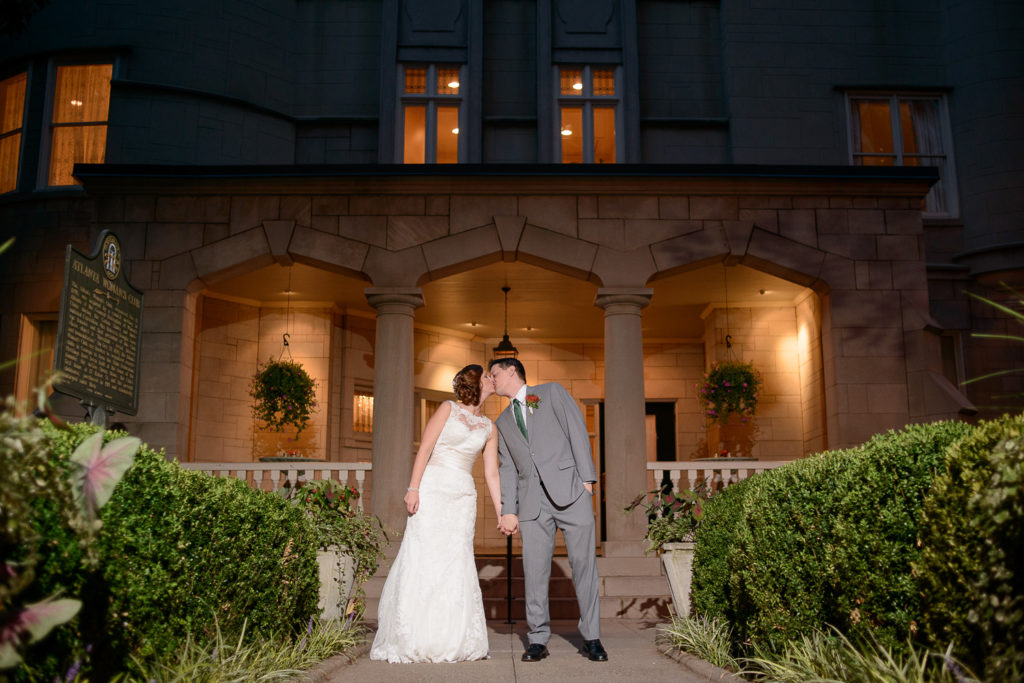 Bride and groom outside Wimbish House in Atlanta