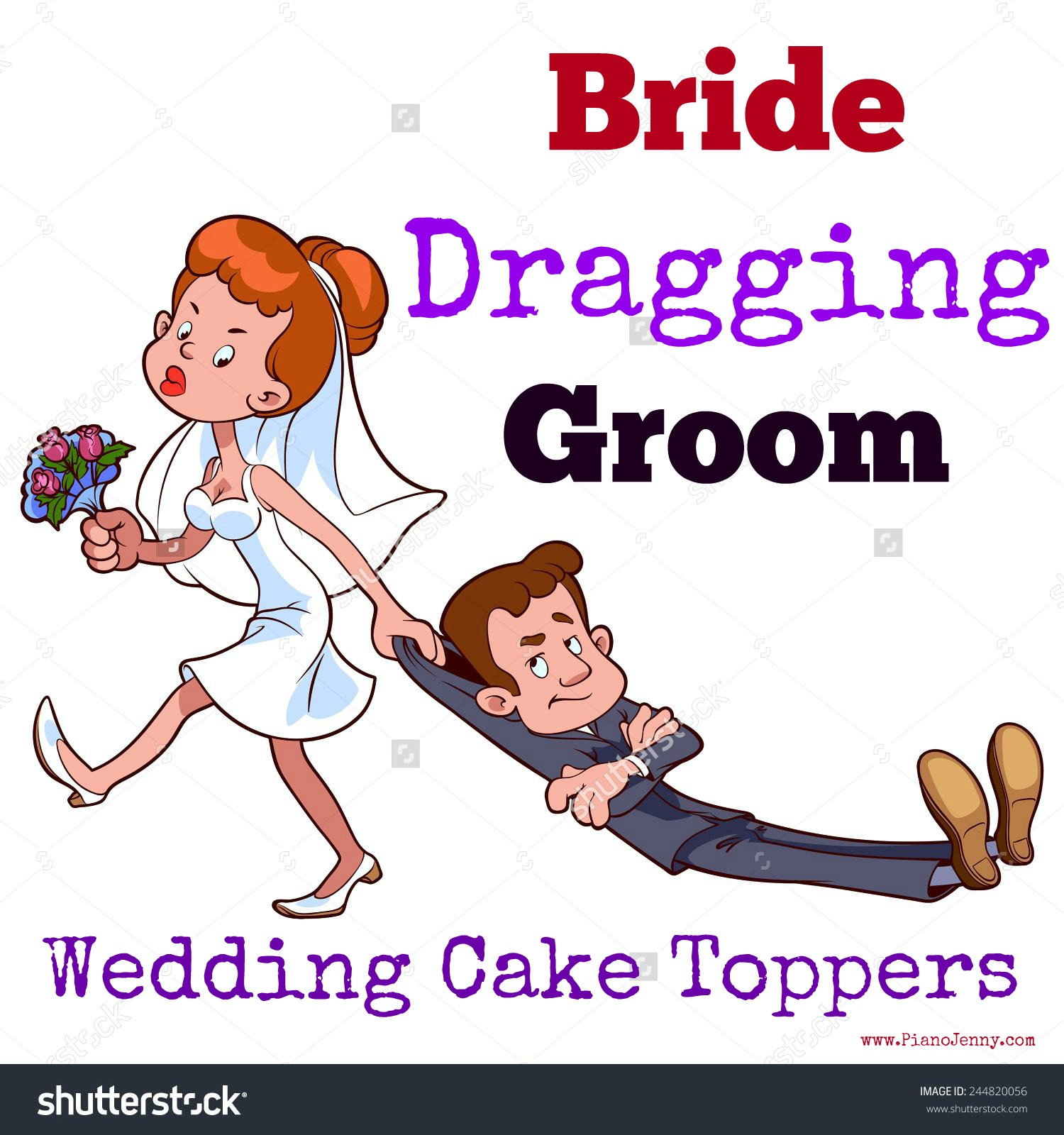 Wife Dragging Husband Cake Topper