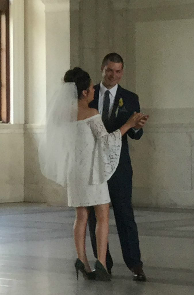Bride and groom at elopement ceremony in Atlanta